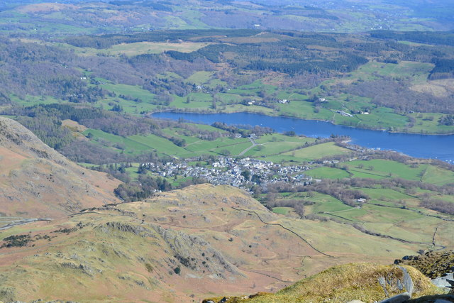 Coniston Water and village from the summit of the Old Man