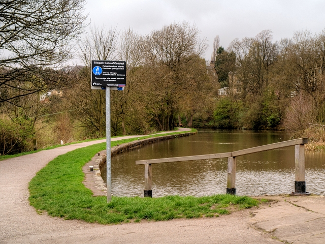 Leeds and Liverpool Canal, Towpath at the Top of the Bingley Three-Rise Locks