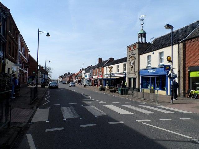 Watton High Street and clock tower
