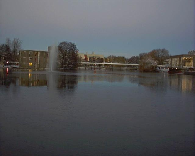 Frozen lake and Vanbrugh Bridge