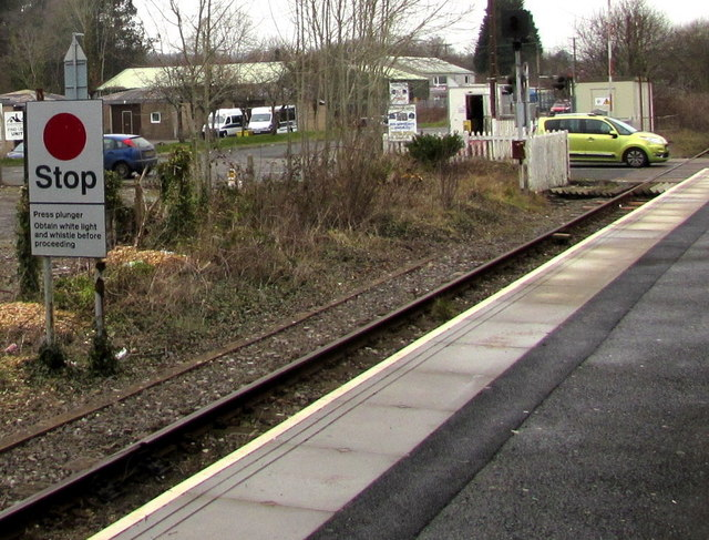 Stop sign at Ammanford railway station