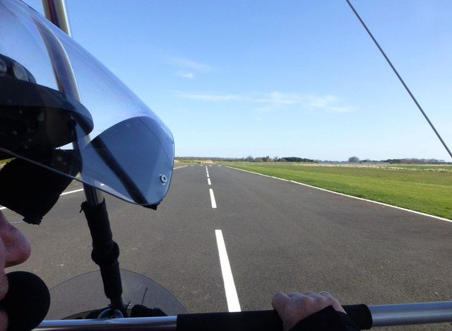 Take off from Eshott Airfield runway