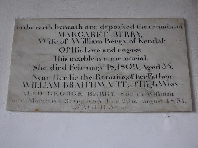 St Michael and All Angels, Hawkshead: memorial (v)