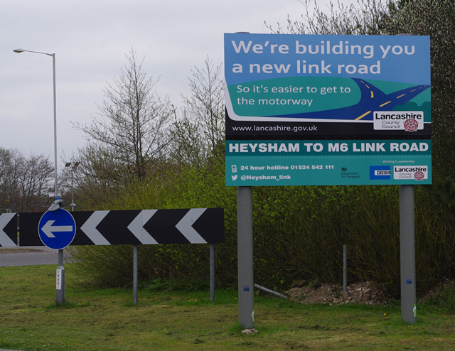 Heysham to M6 Link Road sign