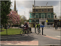 TQ4077 : Users of new cycle lane at the Royal Standard by Stephen Craven