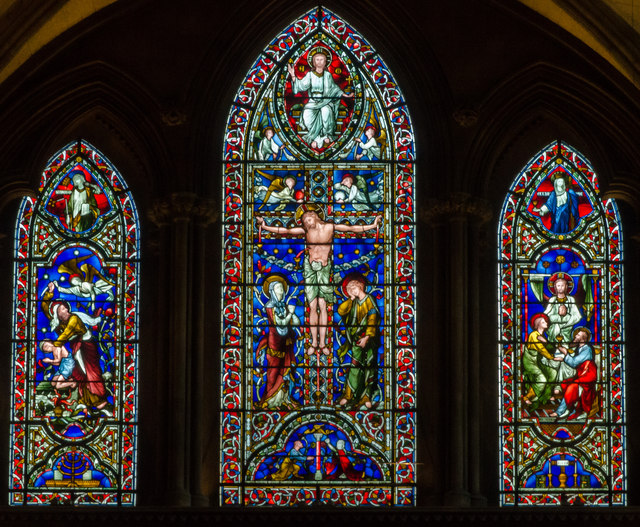 stained glass window  hereford cathedral  u00a9 julian p