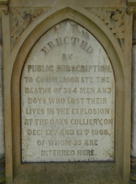 Inscription on the Oaks Colliery Disaster Memorial