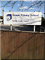 TM3958 : Snape Primary School sign by Geographer