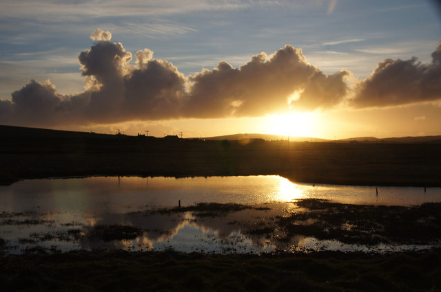 Sunset over Haroldswick pool