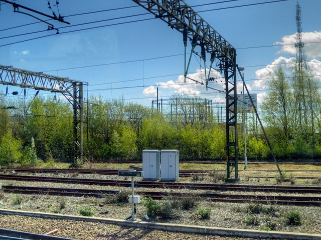 Overhead Gantries and Gas Holder near Edge Hill Station