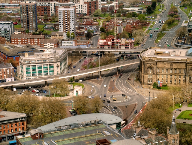 View from St John's Beacon - Churchill Way and A57 Elevated Section
