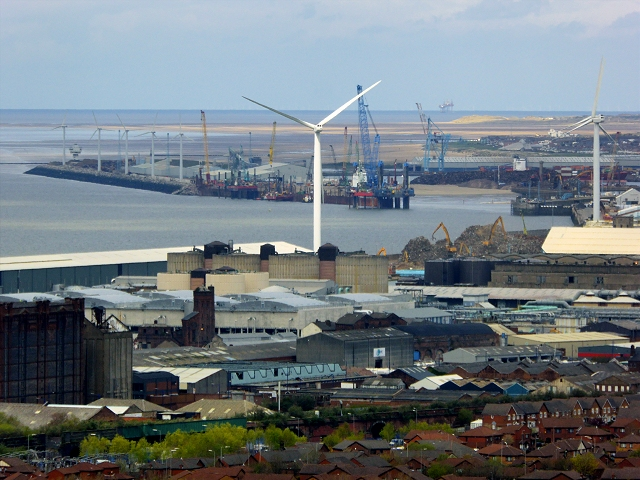 View Towards the Liverpool Docks at Sandhills and Bootle from St John's Beacon