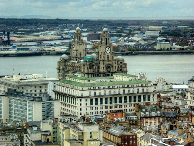 View from St John's Beacon towards the India Buildings and Royal Liver Building