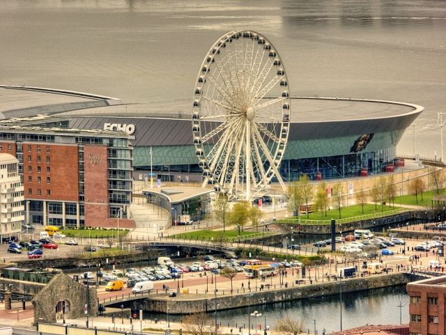 View from St John's Beacon - Liverpool Wheel and Echo Arena