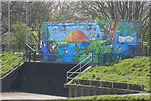 SJ8092 : Murals to combat graffiti on the sluice gate building by Ian Greig