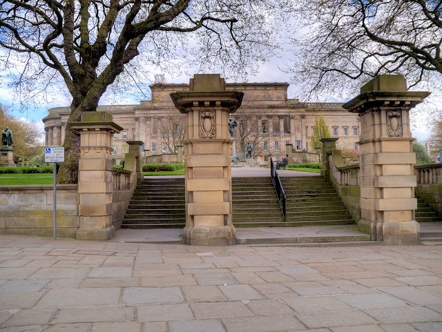 Steps to St John's gardens and St George's Hall from Old Haymarket Street