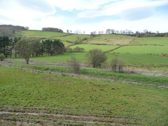A patchwork of fields, below Lease Rigg