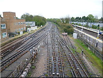 TQ5686 : Looking down the tracks towards Upminster Depot by Marathon