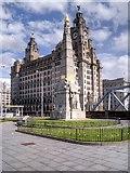 SJ3390 : Titanic Memorial and Royal Liver Building, Liverpool Pier Head by David Dixon
