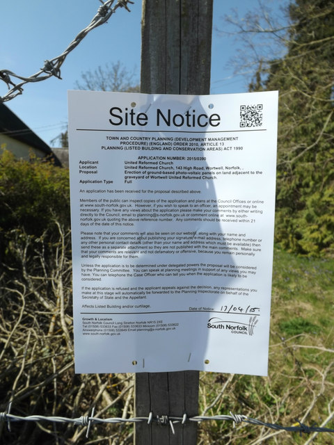 Planning Notice at Wortwell United Reformed Church