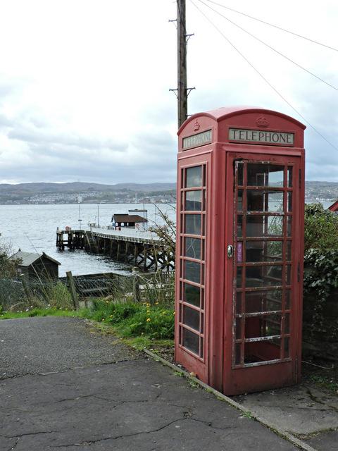Phone box and Kilcreggan Pier