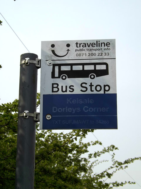 Dorleys Corner Bus Stop sign
