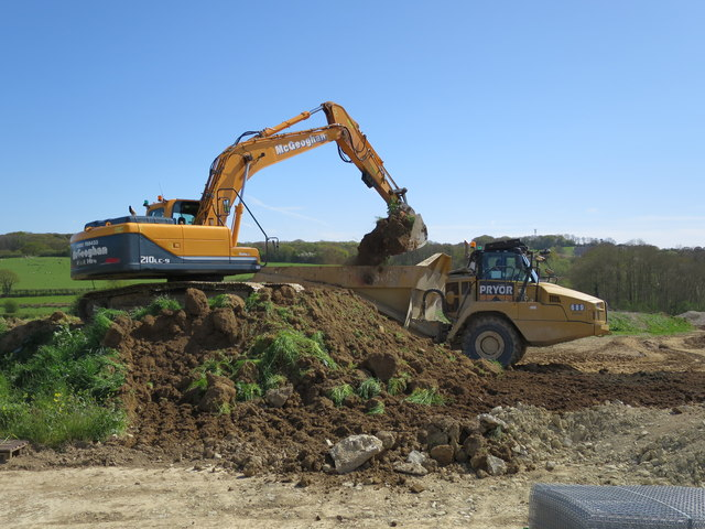 Construction vehicles, Combe Valley Way
