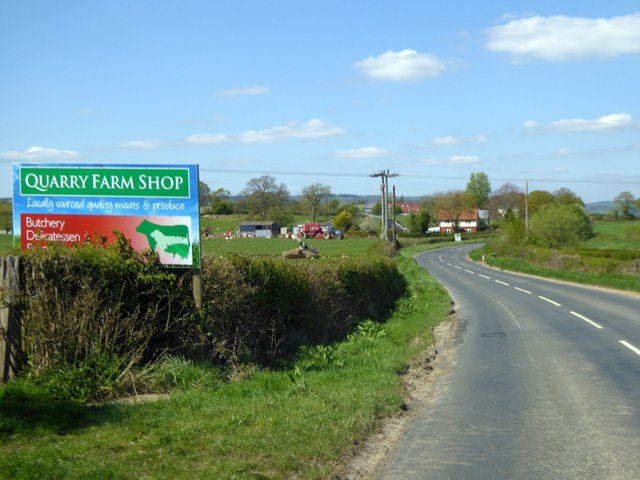 Advert for farm shop south of Luston