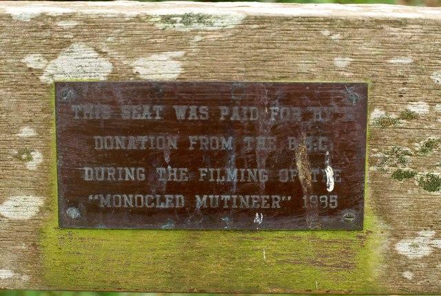 Plaque on churchyard seat, Sutton Mallet