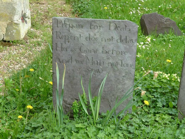 Early slate gravestone, Hoby churchyard