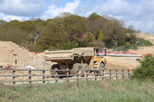Truck at Combe Valley Way construction