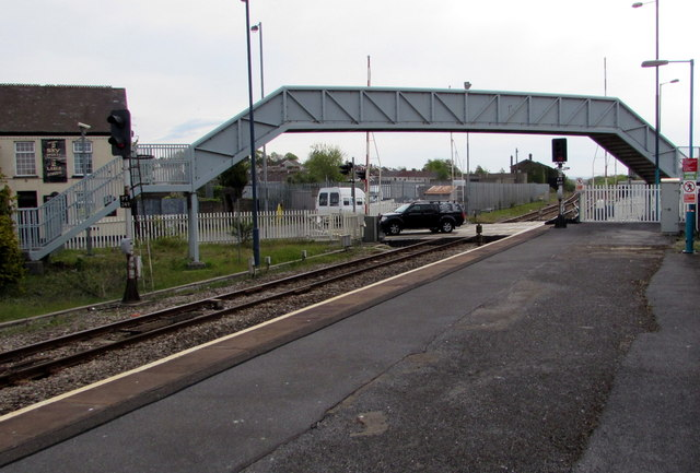 Footbridge beyond the eastern end of Llanelli railway station