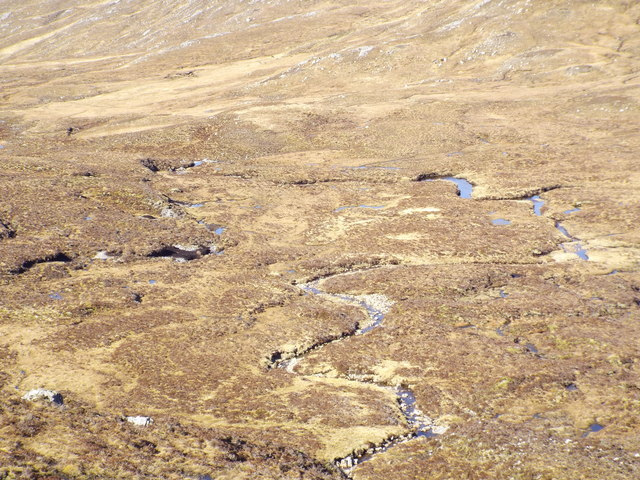 Meandering burns west of Bealach nam Luib Feadaig in Killilan Forest