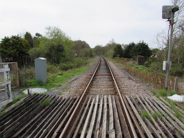 Heart of Wales Line towards Ammanford from Brynmarlais Crossing, Llandybie