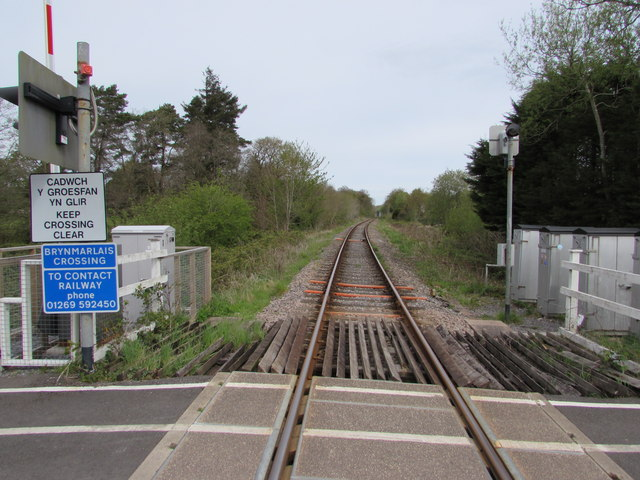 Heart of Wales Line towards Llandybie station from Brynmarlais Crossing, Llandybie