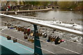 SK2168 : Love locks on a Bakewell footbridge by Graham Hogg