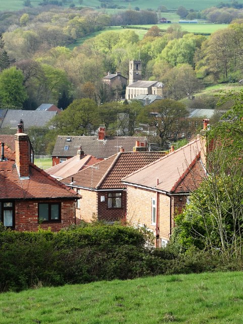 View to Compstall Church from Cote Green