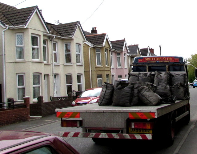 Coal delivery lorry in Ammanford