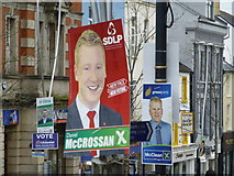 H4572 : Election candidate posters, Omagh (4) by Kenneth  Allen