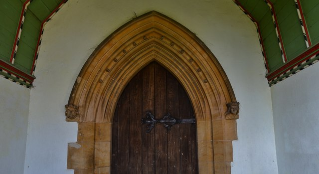 Navenby: St Peter's Church; Detail of entrance in south porch