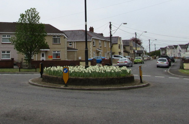 Flowery roundabout in Ammanford