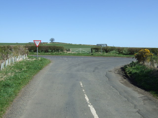 Rural road junction near East Farm