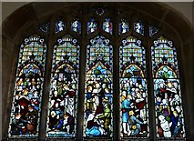 SK8707 : Egleton: St. Edmund's Church: Part of the huge stained glass window in the chancel by Michael Garlick