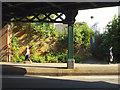 SP2965 : Flank wall, column and truss, Emscote Road railway bridge, Warwick by Robin Stott
