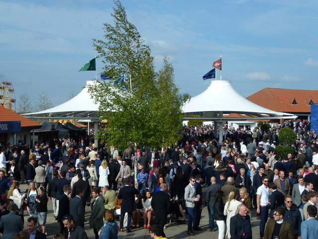 Crowd in the catering and bar area at Newmarket