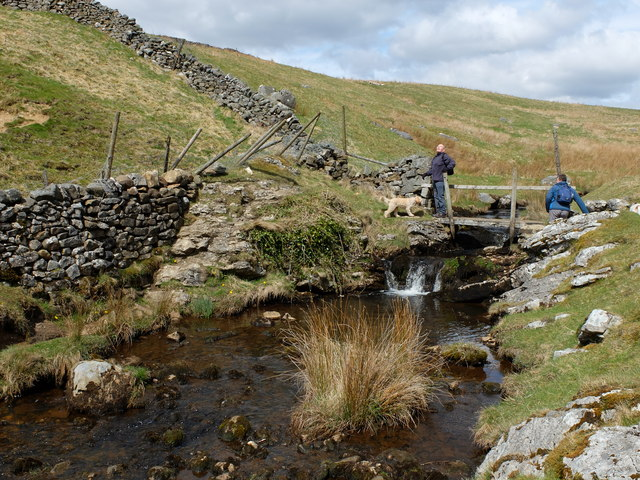 The stream and footbridge just above Trollers Ghyll