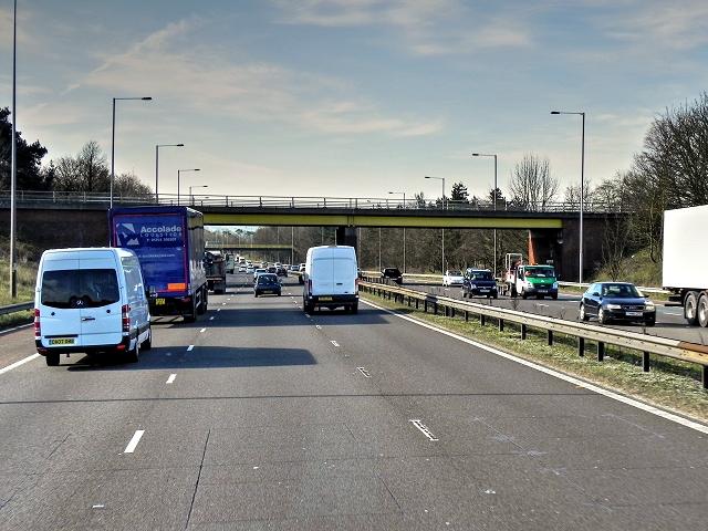 Southbound M6, Runshaw Lane Bridge at Euxton
