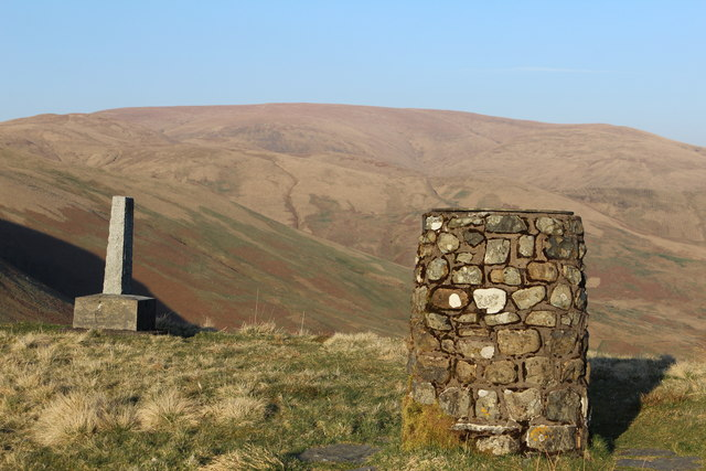 Covenanter memorial and view indicator above Devil's Beef Tub
