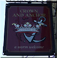 NZ0965 : Sign for the Crown and Anchor, Horsley by JThomas