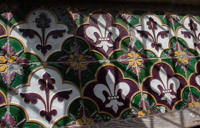 Tiled window sill, St Mary's church, Alvingham